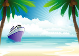 Fototapety Bon Voyage Vacation, vector illustration layers file