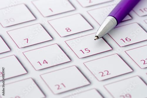 Leinwandbild Motiv Purple Pen on purple calendar