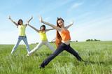 three girlfriend in green field poster