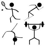 Sports Icons (Tennis/Sprint/Gymnastics/Weightlifting) poster