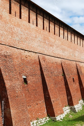 Wall of old fortress in Kolomna town near Moscow