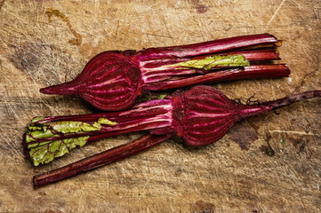 Beets on wooden table.