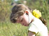 girl  hear music poster