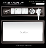 Website black electric layout template poster