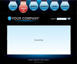 Website black blue template poster