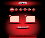 Website red glossy rhombic template poster