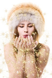 redhead woman in winter clothes with gold dust poster
