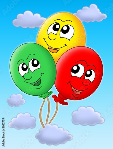 Three balloons on blue sky