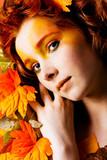 Autumn portrait of a beautiful model
