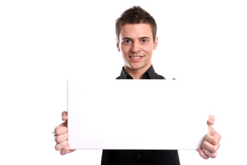 business man with an empty white card