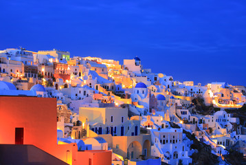 Oia village on Santorini island at nighttime