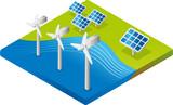 Offshore Windpark und Solaranlagen - Isometrie poster