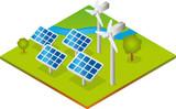 Solaranlagen und Windräder - Isometrie poster