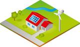 Haus mit Solarzellen und Windkraftanlage - Isometrie poster