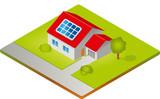 Haus mit Solarzellen - Isometrie poster