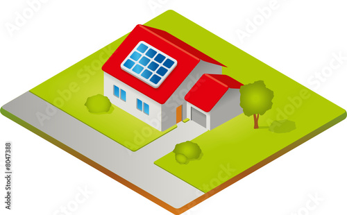 haus mit solarzellen isometrie von guukaa lizenzfreier vektor 8047388 auf. Black Bedroom Furniture Sets. Home Design Ideas