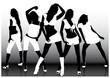 Girls band on the dance floor