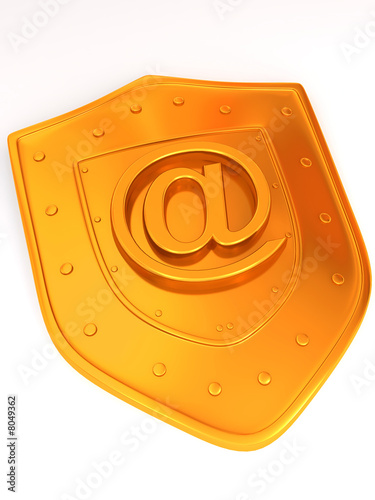 Shield with symbol for internet.