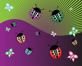 Abstract illustration with ladybirds and butterflies poster
