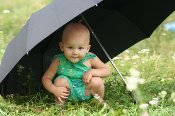 The child under umbrella