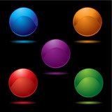 Collection of five buttons in bright vivid colours with shadow poster