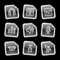 Media icons, black glossy sticker series