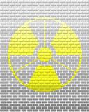 Vector radiation warning on white brick background poster