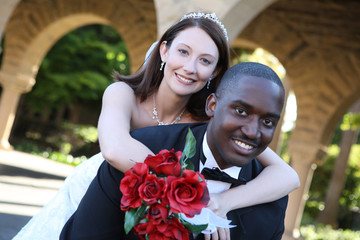 Attractive Man and Woman Interracial Wedding Couple