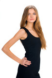slim girl in black dress poster