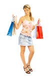 Comparison shopping. Girl with bags. poster
