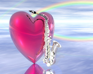 heart and saxaphone