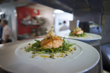 Salmon dish in commercial kitchen, close-up, focus on foreground