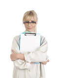 Blond nurse with blue notepad