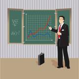 Algebra teacher at blackboard poster