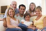 Fototapety Extended family in living room smiling