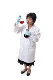 Chemist  holding  chemicals in flasks poster
