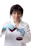 Female in lab.  Scientific experiment poster