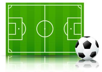 Terrain et ballon de football (paysage reflet)