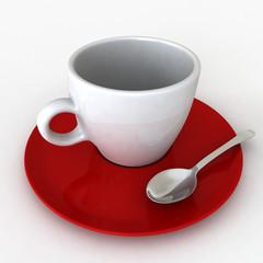 Una tazzina di caffè bianca e rossa
