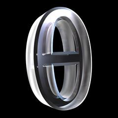 Theta symbol in glass (3d)