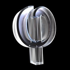 Phi symbol in glass (3d)