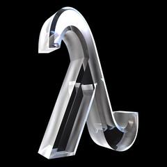 Lambda symbol in glass (3d)