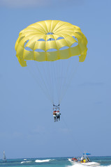 People are parasailing