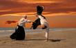 aikido au couché de soleil