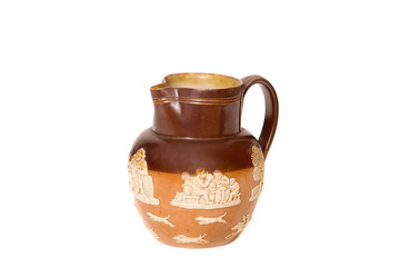decorated brown jug with ivory