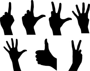 différentes signes de main