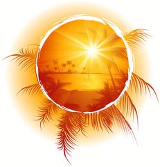Tropical_frame_sunset_on_the_beach