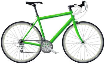 Vélo de course vert (détouré)