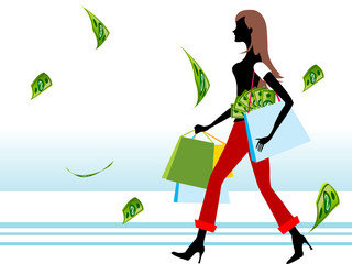 lady with money and shopping bags