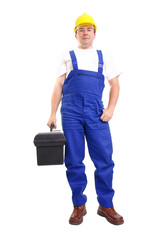 Serviceman with toolbox
